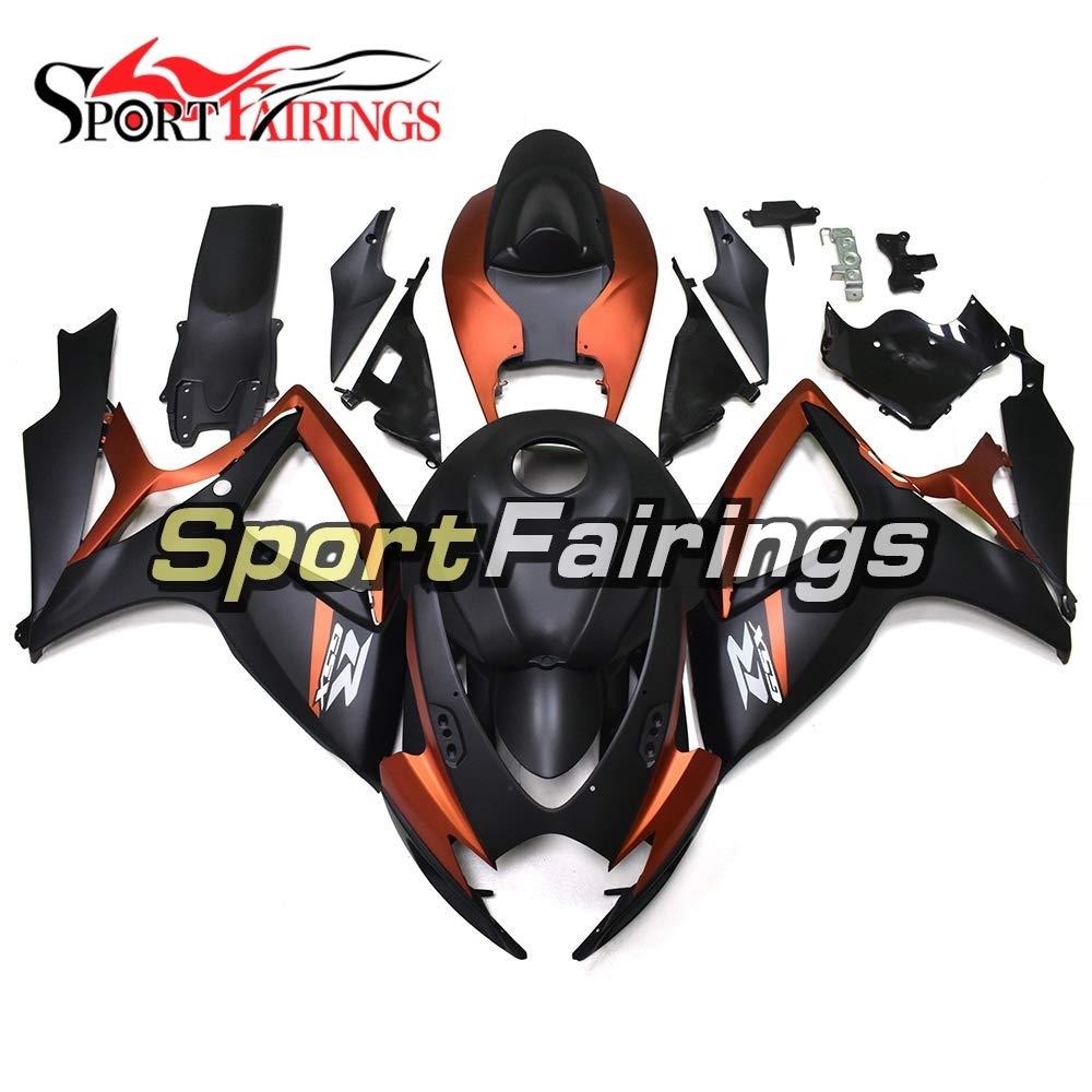 Sportfairings 外装部品セット適応フィッ 新しい ABS オートバイフル整形スズキ GSXR600 GSXR750 K6 年 2006 2007 インジェクションボディキットマットブラックオレンジカウリング   B07HC4MPXF