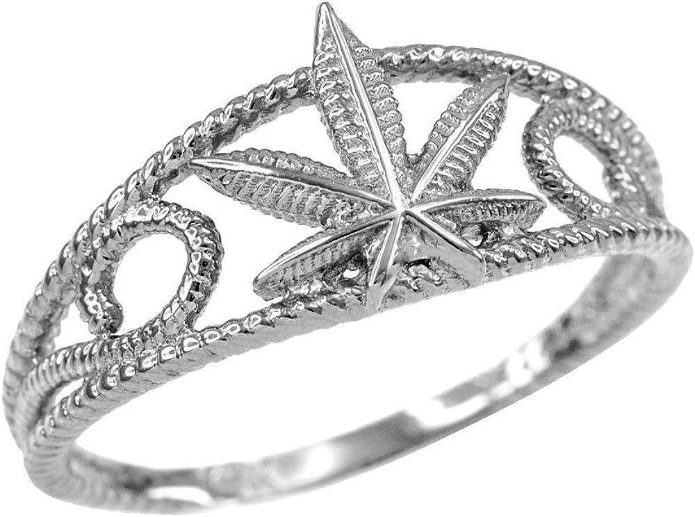 Modern Contemporary Rings High Polish 925 Sterling Silver Filigree Rope Band Marijuana Leaf Ring