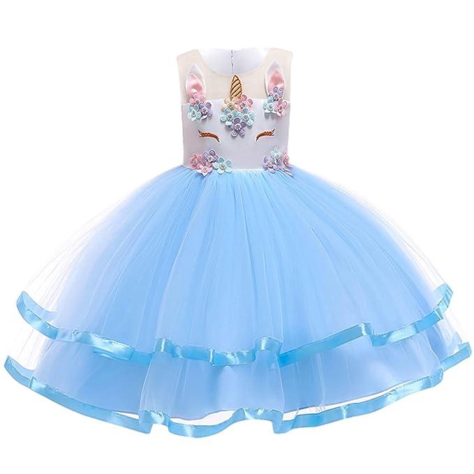 Amazon.com: Vestido de unicornio para niñas, vestido de ...