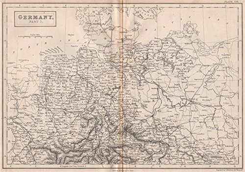 (Northern Germany. Railways. BRITANNICA - 1860 - old map - antique map - vintage map - Germany maps )