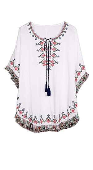 ZATOGOO Women's National Wind Casual Embroidery Tassels Loose Round Neck Short Sleeve Blouse Top,White