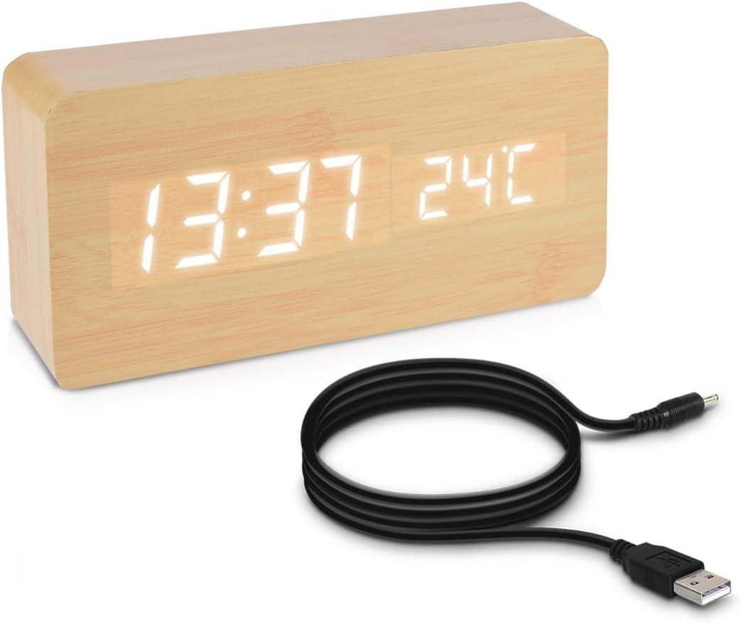 kwmobile Reloj Despertador Digital con Cable USB - Pantalla LED y activación táctil - Indicador de Temperatura y Calendario en Madera y LED Blanca