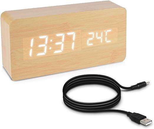 kwmobile Réveil Bois LED Horloge Digitale Aspect Bois Réveil Matin Tactile avec Fonction Date Heure Température Rectangle Beige et LED Blanc