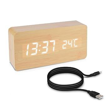 kwmobile Reloj despertador digital con cable USB - Pantalla LED y activación táctil - Indicador de temperatura y calendario en madera y LED blanca: ...