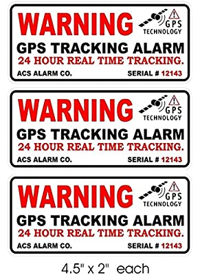"""3 Pcs Persuasive Unique Warning GPS Tracking Alarm 24 Hour Real Time Outside Sticker Signs Truck Car Business Video Hr Surveillance Decals Fence Property Reflective Window Premises Sign Size 4.5""""x2"""""""