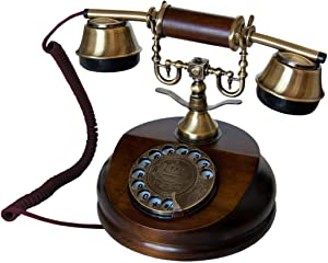 OPIS 1921 Cable - Model A - Antique Style Telephone with Wood and Metal Body, Functional Rotary dial and Classic Metal Bell