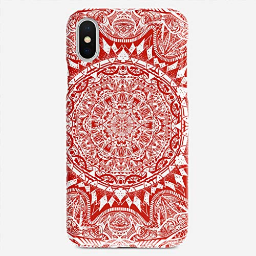 BEETLE CASE Compatible with iPhone X case Red Mandala Pattern Unique Pattern Design Slim Fit Shell Hard Plastic Full Protective Anti-Scratch Resistant Cover