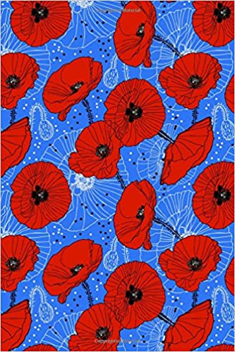 Journal Notebook Red Poppies On Blue: 110 Page Plain Blank