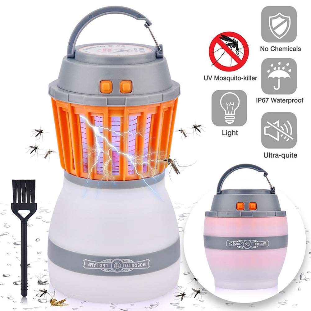 Everrich 2 in 1 Camping Lantern Insect Zapper Tent Light - Portable Waterproof Mosquito Killer LED Light - Multi-Function Mosquito Killer Outdoor Portable Camping