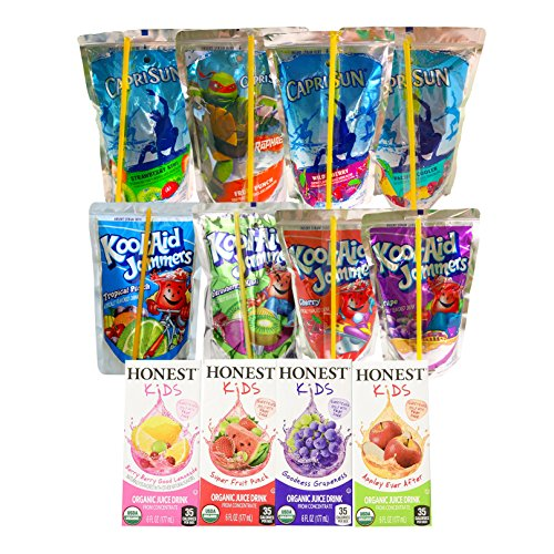 Healthy Snacks, Drinks and Junk Food for Kids after School, Lunch Box, Variety Pack with Cookies, Goldfish, Pringles Chips, Crackers and Juices: Caprisun, Honest Kids and Kool Aid Jammers