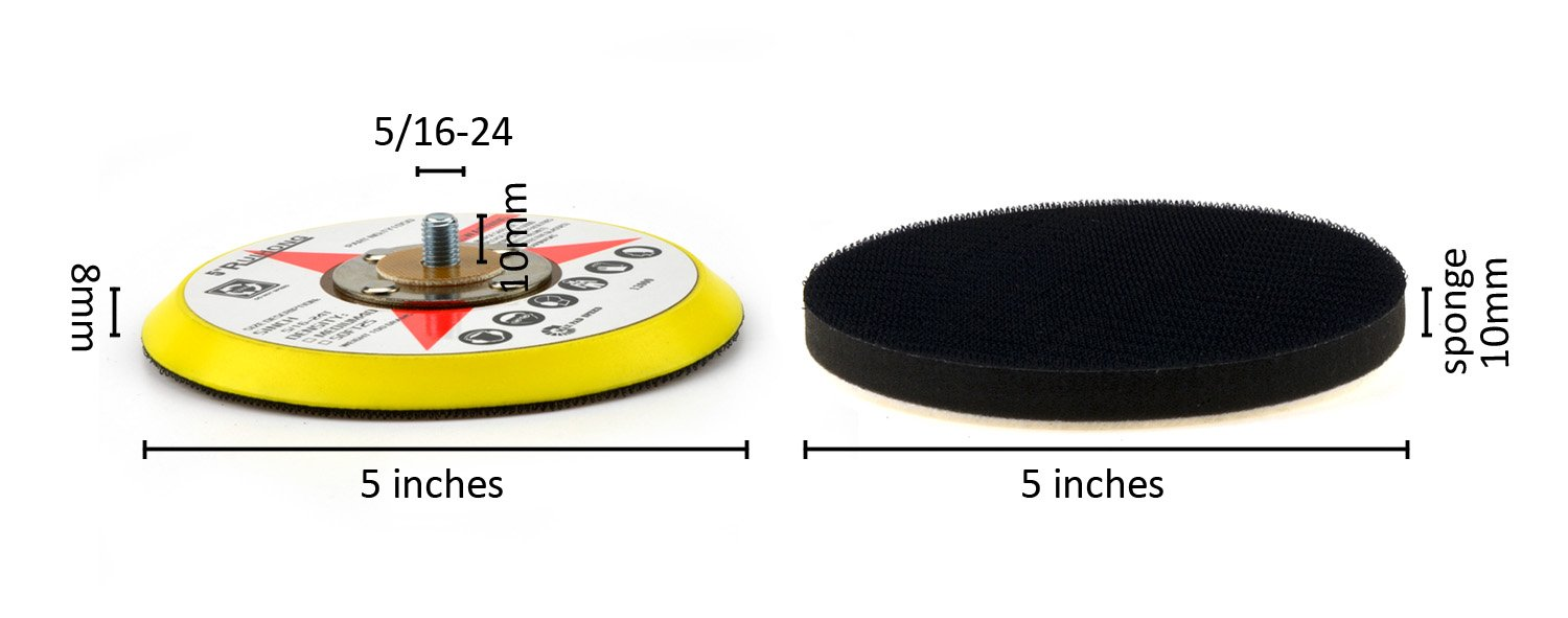 e-Rookie 5-Inch 400 Grit Aluminum Oxide White Dry Hook and Loop Sanding Discs with a 5//16-24 Inch Thread Backing Pad Soft Sponge Buffering Pad 20-Pack
