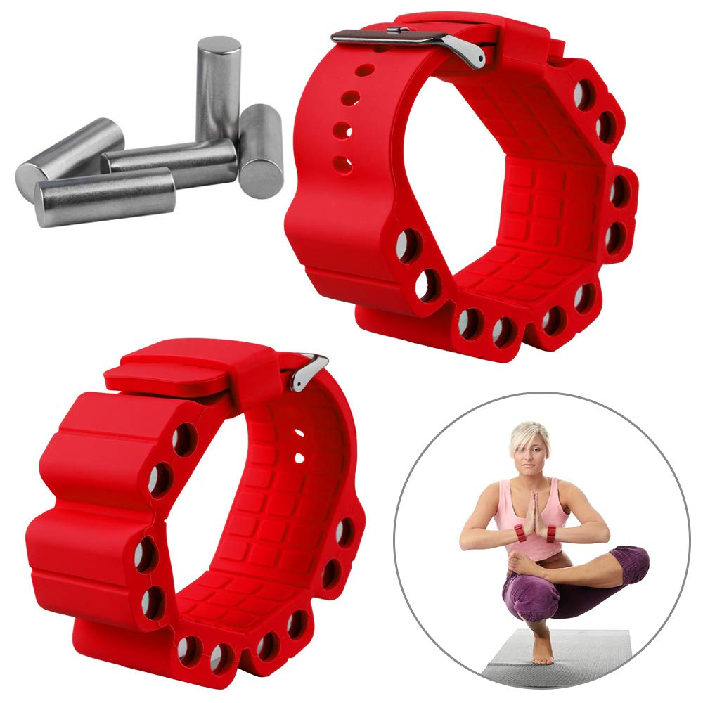 Wrist Weights, Adjustable Fitness Wearable Weighted Wristbands to Increase Arm & Leg Explosiveness and Endurance Training for Dance Barre Pilates Bounce Yoga Cardio Walking and Home Exercise (Red)