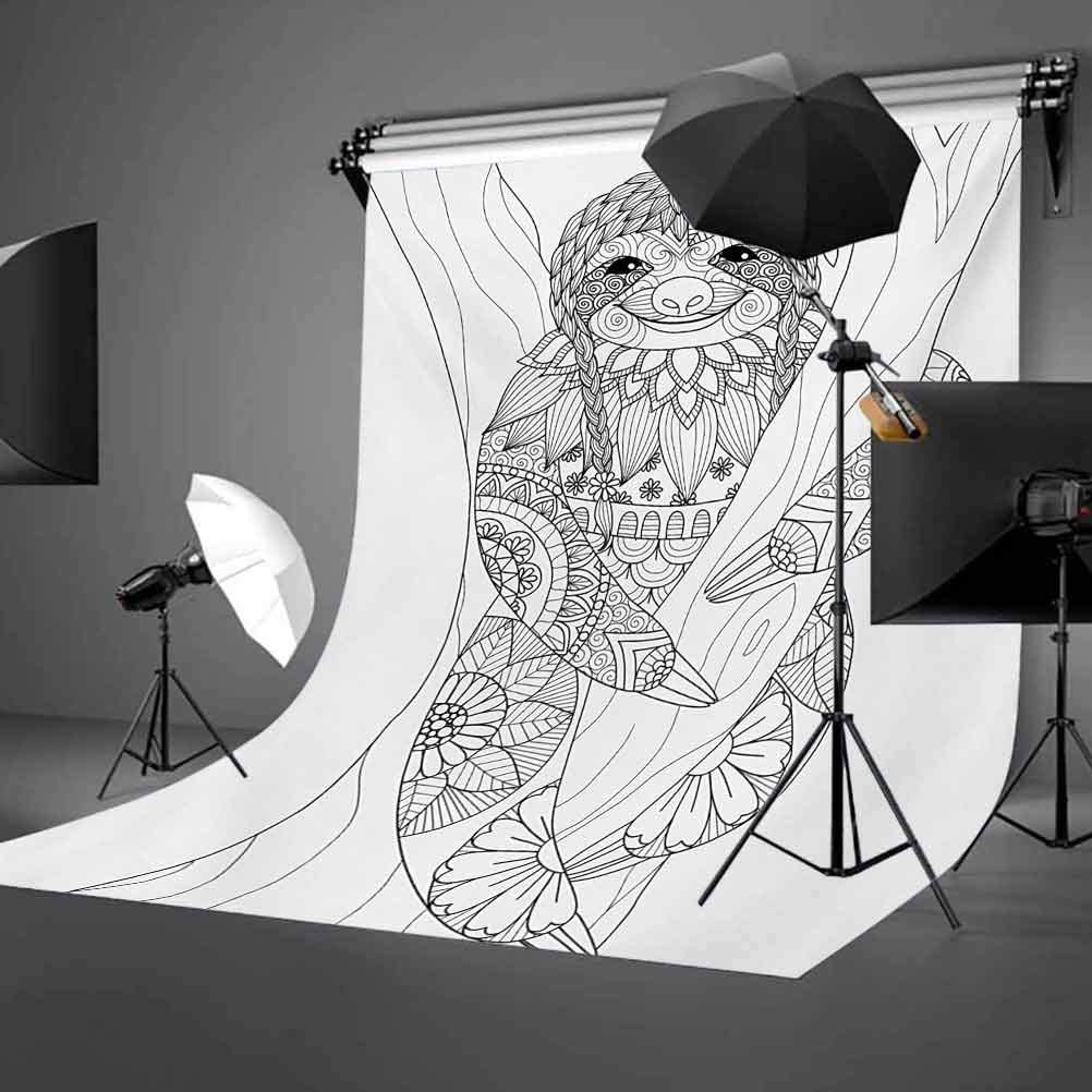 6.5x10 FT Backdrop Photographers,Smiling Cute Animal on Tree with Various Floral Details Monochrome Artistic Wildlife Background for Child Baby Shower Photo Vinyl Studio Prop Photobooth Photoshoot