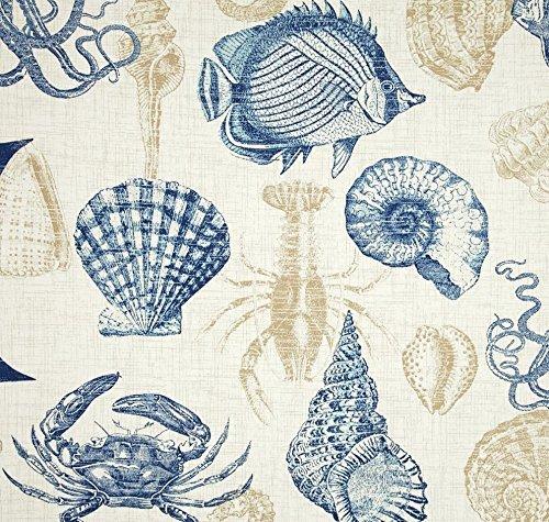 Indoor / Outdoor Fabric by the Yard - Richloom Solarium Outdoor Sealife Marine Blue Tan Crab / Fish / Shell