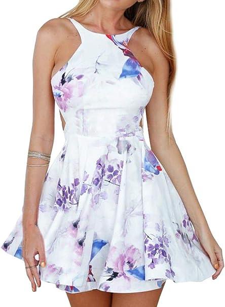 Fancyinn Damen Ruckenfrei Ausgestellt Blumen Eine Linie Skater Kleid S Amazon De Bekleidung