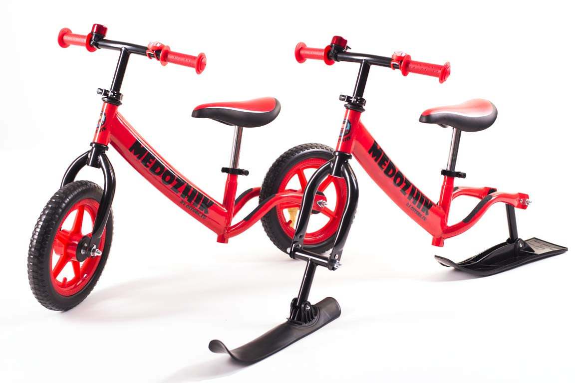 Medozhik Bicicletas sin Pedales Bicicleta de Equilibrio+esquí X Red con Manillar Ajustable y Asiento para niños DE 1,5 a 5 años de Edad