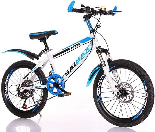 Bicicleta De Montaña Freno De Disco Doble De 7 Velocidades para Hombres Y Mujeres, Bicicleta De Carretera con Suspensión Completa, Bicicleta De Montaña De 20 Pulgadas,White Blue: Amazon.es: Hogar