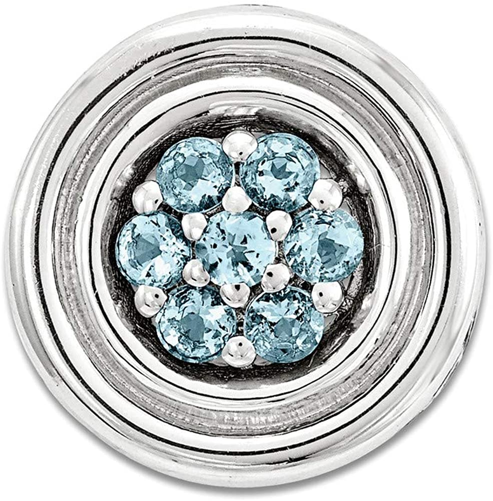 FB Jewels Solid 925 Sterling Silver Stackable Expre925 Sterling Silverions Small Polished Blue Topaz Chain Slide