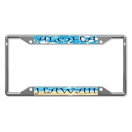 Amazon.com: Aloha Hawaii Chrome Metal License Plate Frame Tag Holder ...