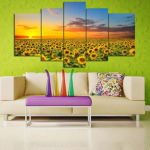LKY Art Wall Art 5 Panel Landscape Canvas Prints Sunflower Canvas Wall Art For Living Room Home Decor Stretched And Framed Ready To Hang 30x54Inches