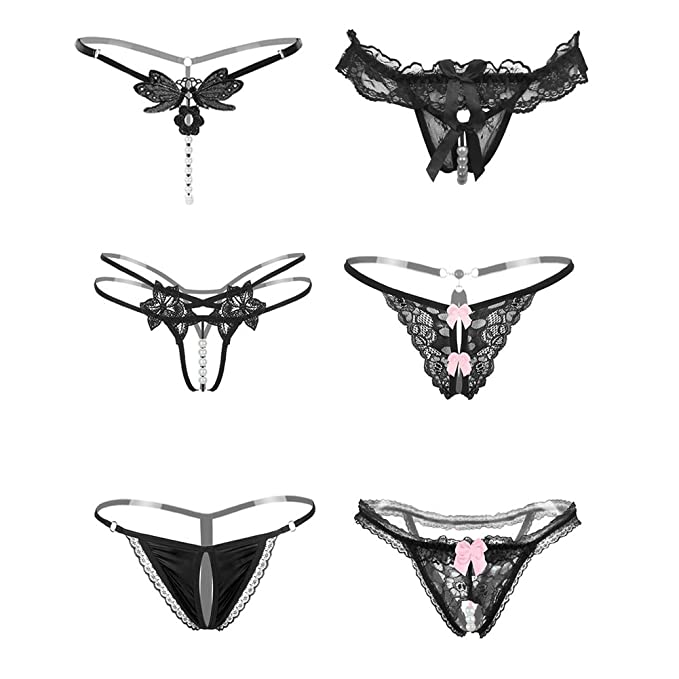 f403df46d1f Nightaste Women s Black Bow-Knot Thong Underwear 4-6 Pack Lace Silk Panties  (