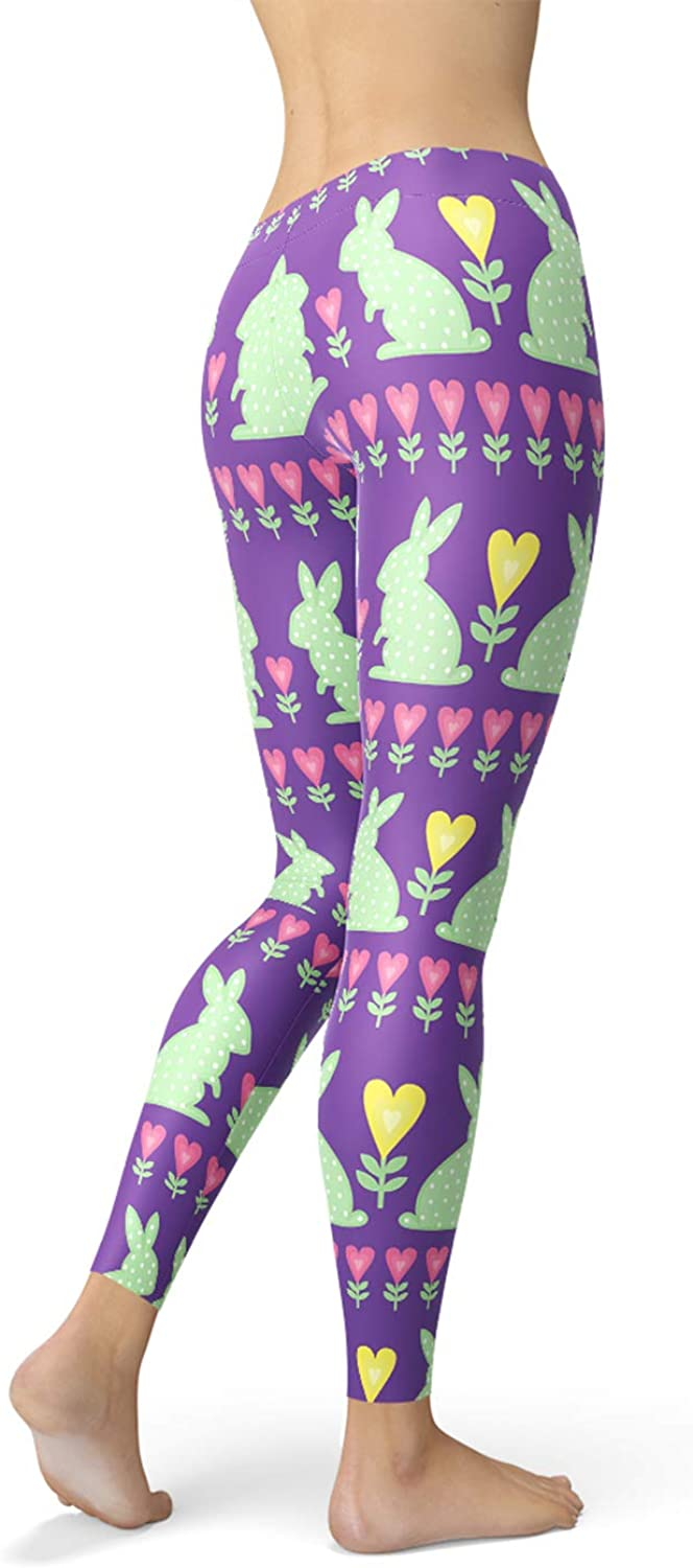 Rabbit Leggings Mid Waisted Purple Pants with White Bunnies for Easter Holiday