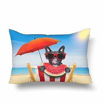 InterestPrint Hamaca de Perro Bulldog Francés para Verano, Vacaciones, Playa, jugosa, Sandía