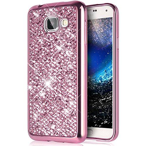 Carcasas Samsung Galaxy J5 2017(Versión US), Funda Samsung Galaxy J5 2017 Glitter, EUWLY Elegante Lujo Moda Brillo Purpurina Fina Silicona Funda Cover Glitter Sparkle Plating Diseño Carcasas Caso Blin Brillante Rosa