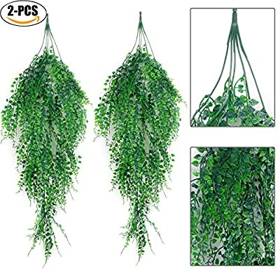 Outgeek Artificial Hanging Plants, Artificial Green Ivy Vine Artificial Shrubs Hanging Vine Plant for Home Garden Outdoor Wall Decoration