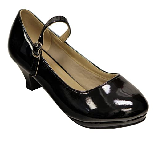 Link Dana-63k Kids round toe kitten heel squeaky mary jane patent shoes  Black 9