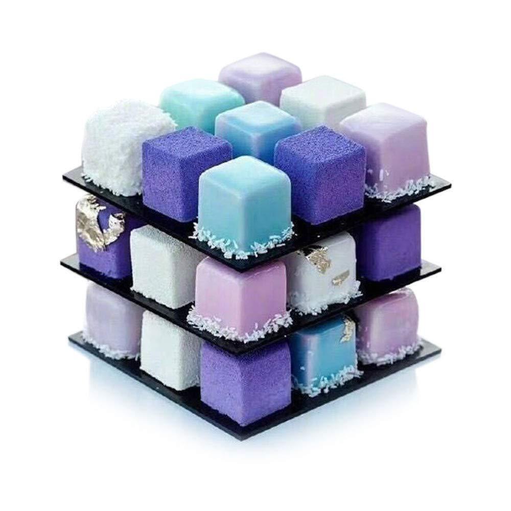 Cake Mold,FTXJ 3D Metal Cube Cake Mold Three-Layer Rotation Mousse Cake Dessert Bake Mold Tool (1 Set, Silver)