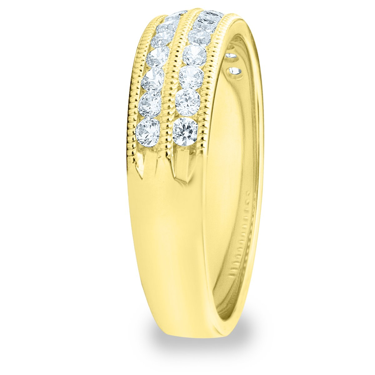 .50CTTW Double Row Diamond Ring, 1/2ct 2-Row Wedding Anniversary Ring in 10K Yellow Gold - Finger Size 6 by Eternity Wedding Bands