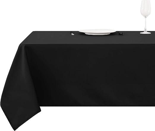 Deconovo Mantel para Mesa Rectangular de Cocina 130 x 160 cm Negro ...