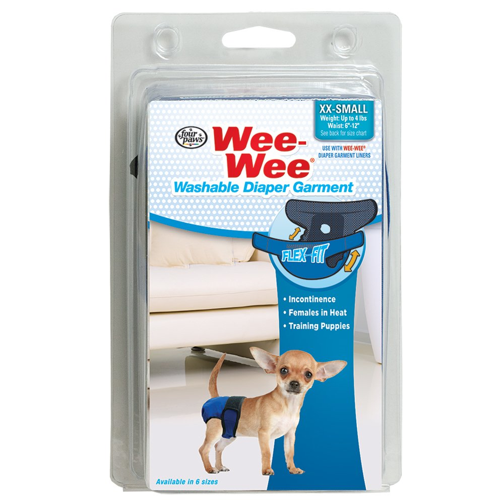 Four Paws Wee-Wee Washable Dog Diaper Garment, XX-Small