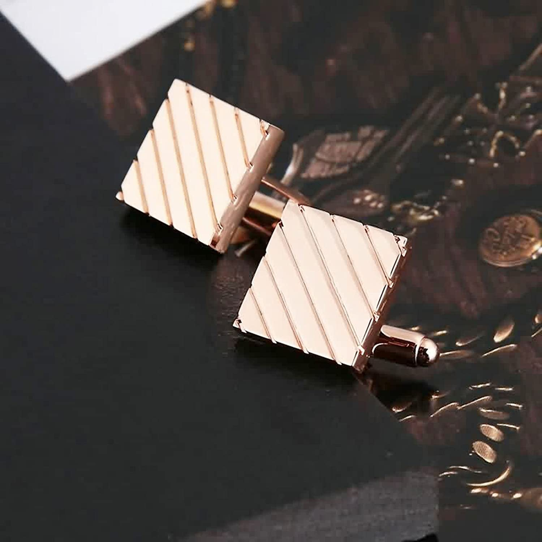 Bishilin 1 Paar Herren Edelstahl Manschettenkn/öpfe Hochzeit Rechteck Diagonaler Schr/ägstrich Silber Manschettenkn/öpfen