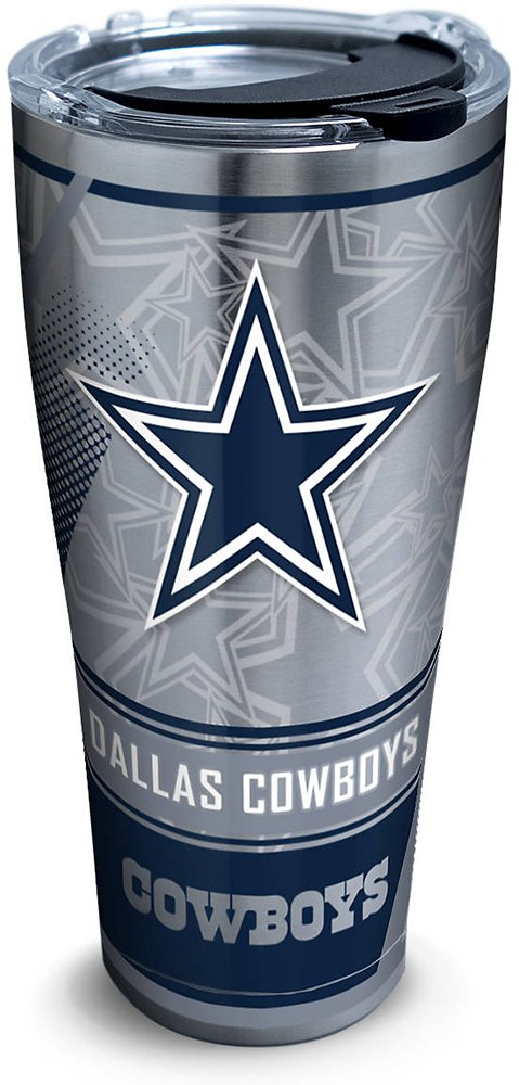 Tervis 1266717 NFL Dallas Cowboys Edge Stainless Steel Tumbler with Clear and Black Hammer Lid 30oz, Silver