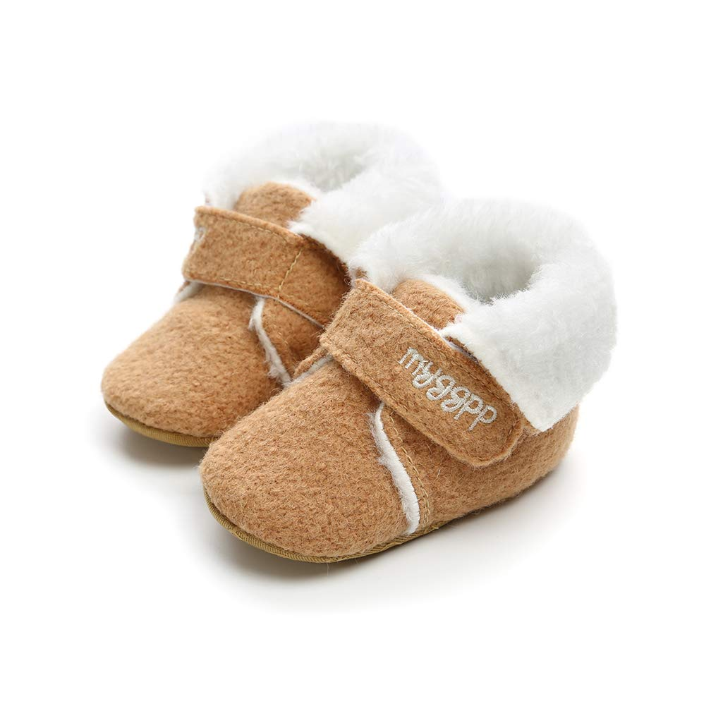 AUPUMI Baby Girl Boy Shoes Warm Moccasin Snow Boots Fluffy Booties Infant Baby Boys Girls Winter Infant Prewalker Shoe