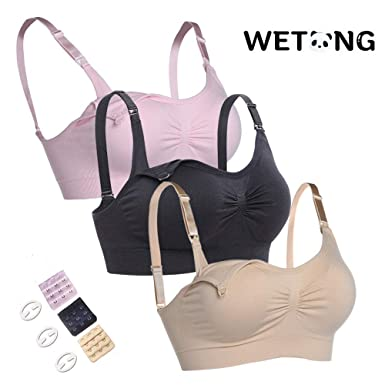 4b91d413a7083 WeTong 3PACK Maternity Nursing Bras Soft Cotton Seamless Bralette Sleep for  Breastfeeding 3PACK M