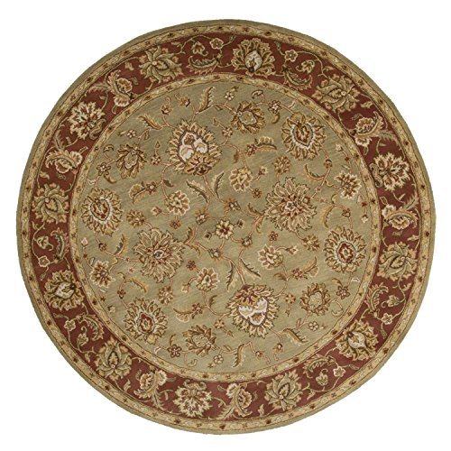 Diva At Home 10' Cloudy Blue and Amber Brown Round Anthea Hand Tufted Area Throw Rug