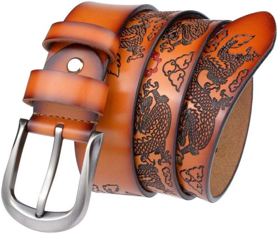Dragon Designer Brand Luxury Belts Men Genuine Leather Belts Cowskin Leather Pin Buckle Belt,Yellowbrown