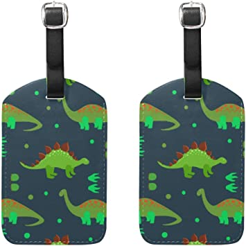 Luggage Tags Cartoon Green Dinosaurs and Footprints Polka Dot Travel Suitcase Labels Business Card Holder 2 Pack: Amazon.es: Equipaje