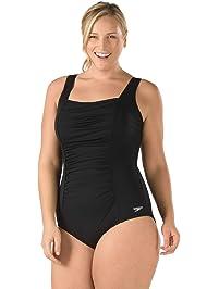 Speedo Women's Plus-Size Shirred Tank One Piece Swimsuit