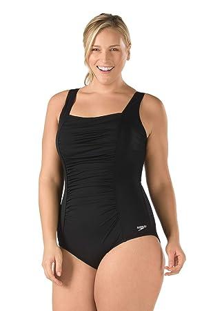 fcbab6871127b Speedo Women s Plus-Size Shirred Tank One Piece Swimsuit  Amazon.ca ...