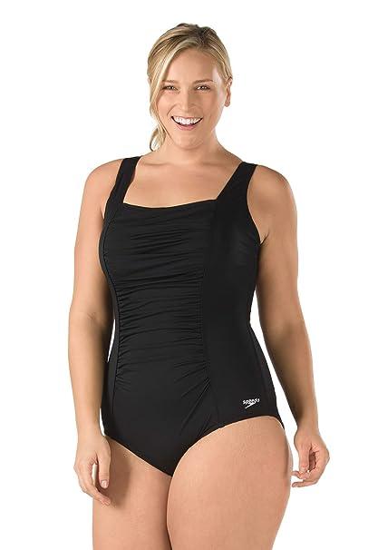 82353fdf9244 Speedo Women's Shirred Tank Traje de baño de una Sola Pieza para Mujer,  Talla Grande
