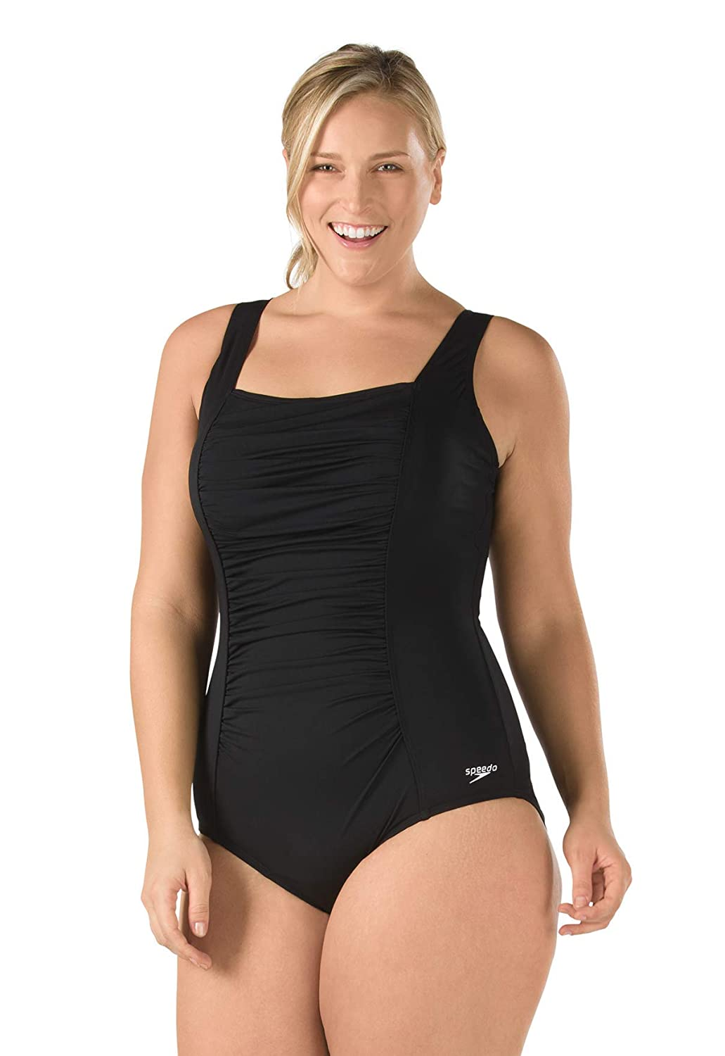 Speedo Womens One Piece Swimsuit-Shirred Tank Moderate Cut, High Bra Support