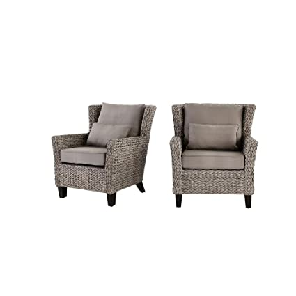 Hampton Bay Megan Grey All Weather Wicker Outdoor Lounge Chair With Cushion  (2