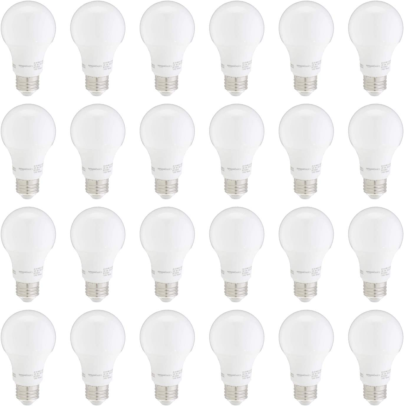 AmazonBasics 60W Equivalent, Daylight, Non-Dimmable, 10,000 Hour Lifetime, A19 LED Light Bulb | 24-Pack