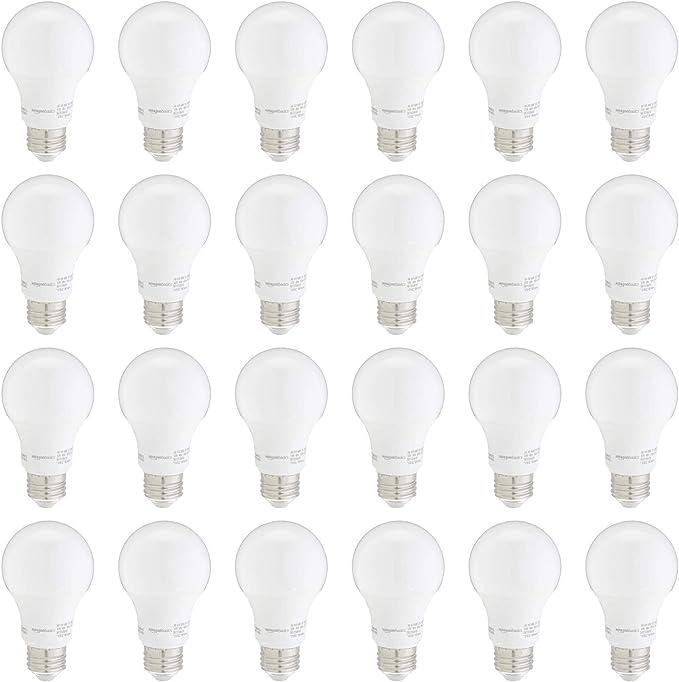 Amazon Basics 60w Equivalent Soft White Non Dimmable 10 000 Hour Lifetime A19 Led Light Bulb 24 Pack