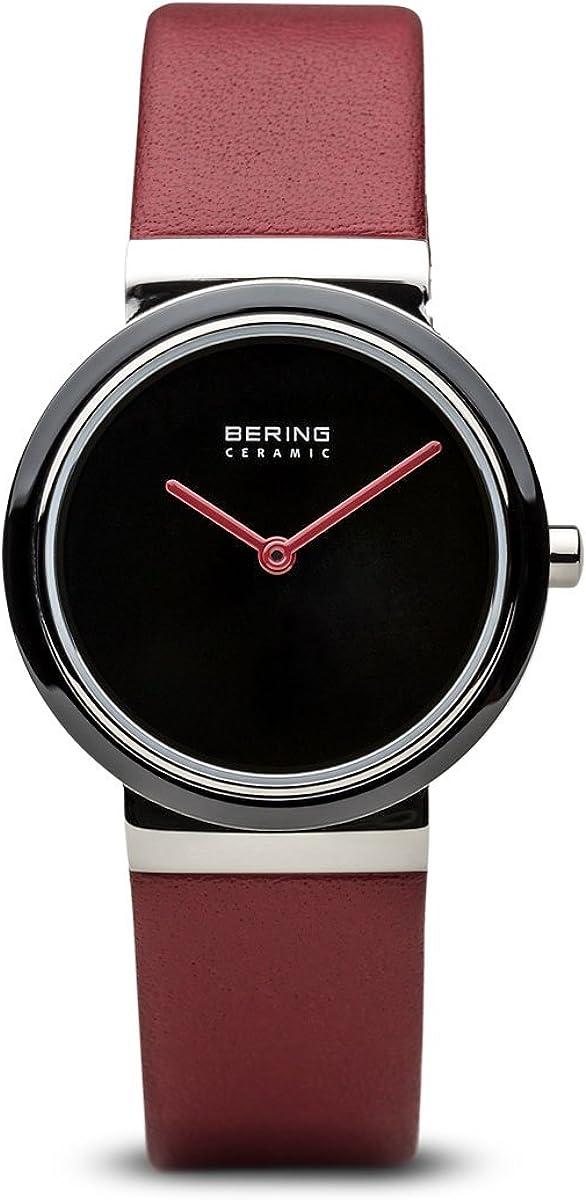Bering Ceramic - Reloj analógico de mujer de cuarzo con correa de piel roja - sumergible a 50 metros