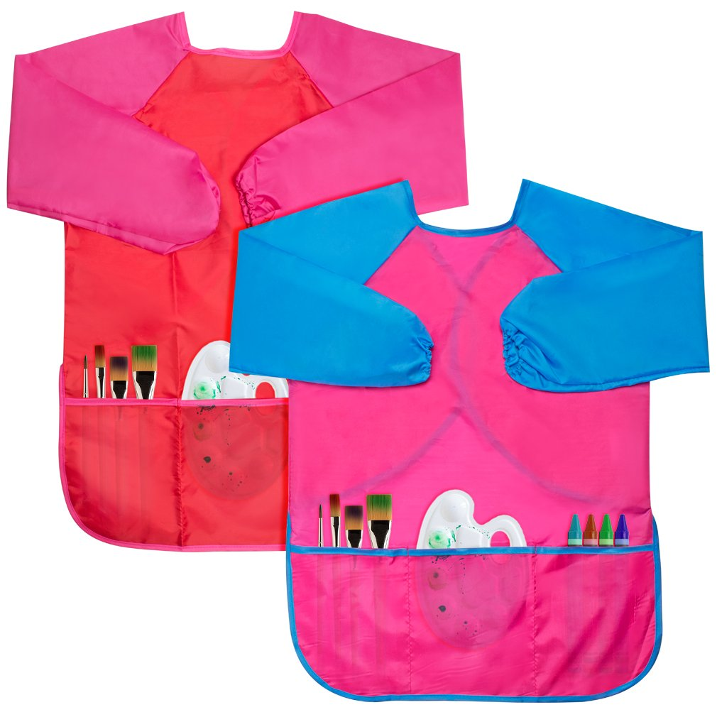 Cubaco 2 Pack Children Waterproof Artist Painting Aprons Kids Art Smocks with Long Sleeve and 3 Pockets for Age 3-8 Years